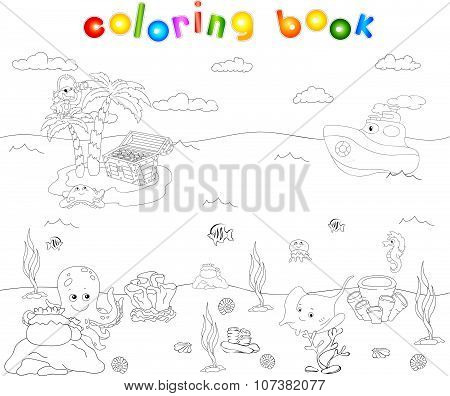 Sea Inhabitants And Steamship. Octopus, Jellyfish, Starfish, Sea-horse, Reefs And Corals In The Ocea