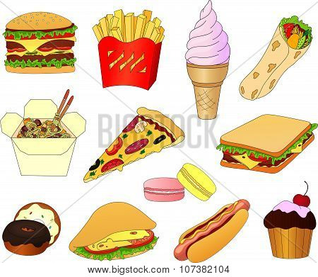 Hamburger, Hot Dog, Sandwich, Pitta, Ice Cream, Cake With Cherry, Donuts With Glaze, Macaroons, Pizz