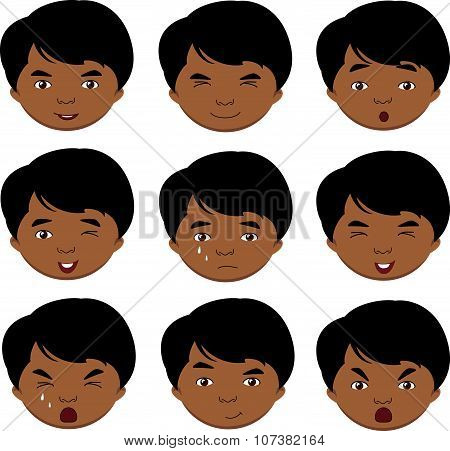 Indian Boy Emotions: Joy, Surprise, Fear, Sadness, Sorrow, Crying, Laughing, Cunning Wink