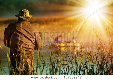 Fisherman Catches Fish