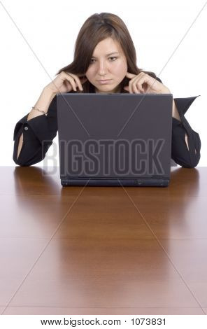 Reading Woman At The Table With Notebook
