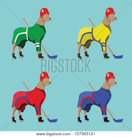 Hockey Dogs Mascots In Colorful Sportswear
