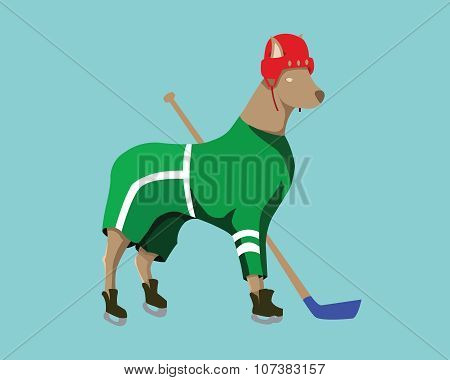 Hockey Dog Mascot In Green Sportswear