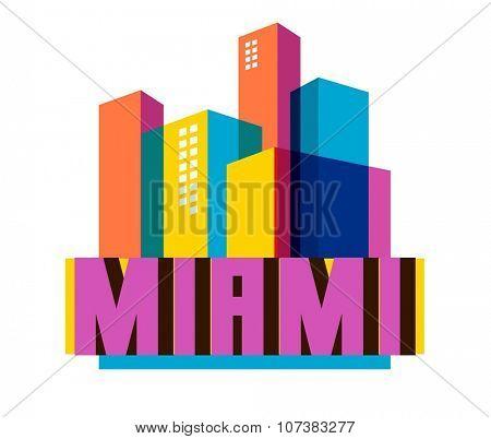 Miami Florida destination brand logo. vector cartoon