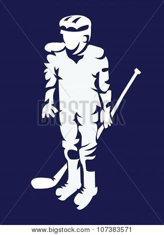 Hockey Player Mascot Silhouette