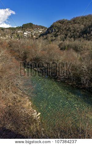 Kipoi village and mountain river, Pindus Mountains, Zagori, Epirus