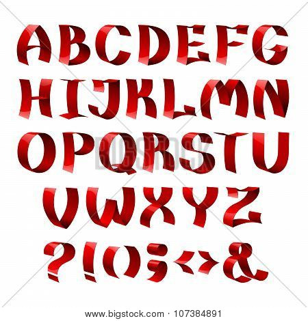 Set of isolated red color shiny ribbon font alphabet letters