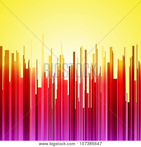 Abstract vertical red, purple and orange gradient stripes city landscape on yellow sunrise backgroun