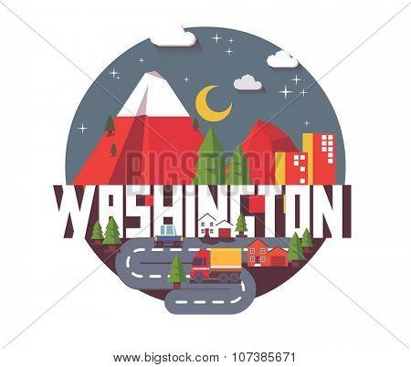 Washington, great destination to visit, vector cartoon