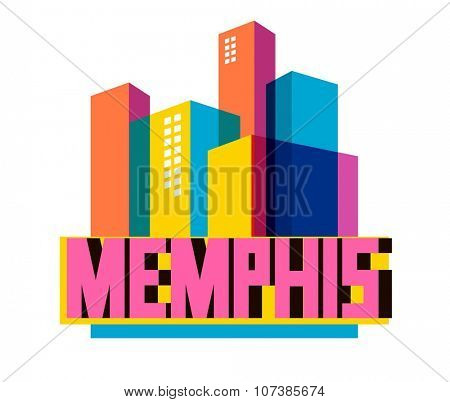 Memphis, tennessee great destination to visit, vector cartoon