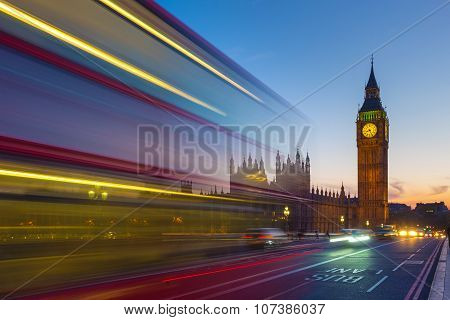 Double Decker bus with the Big Ben at blue hour, London, UK