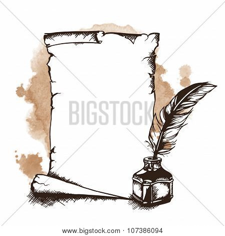 Hand-drawn paper scroll, feather and inkwell. Vector illustration