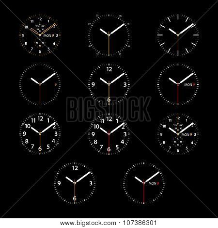 Set of 11 modern smart watches white round dials on black background
