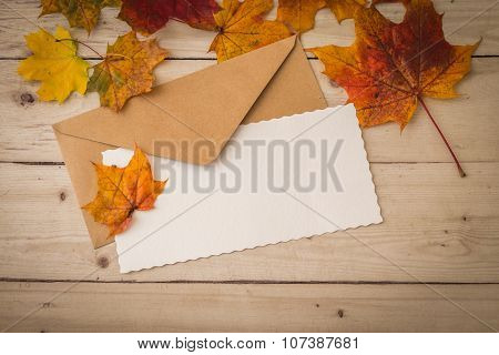 Letter And Envelope With Dry Leaves Decoration