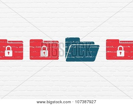 Business concept: folder icon on wall background
