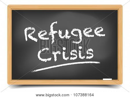 detailed illustration of a blackboard with Refugee Crisis text, eps10 vector, gradient mesh included