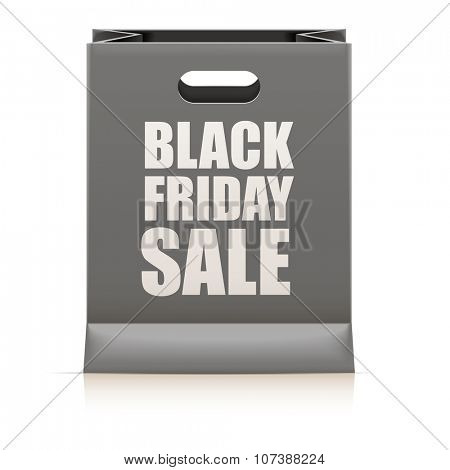 detailed illustration of a black paperbag with black friday sale text, eps10 vector