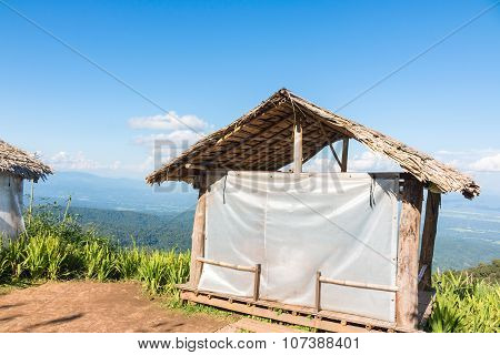 Thai style pavilion with thatched roof on The Hill
