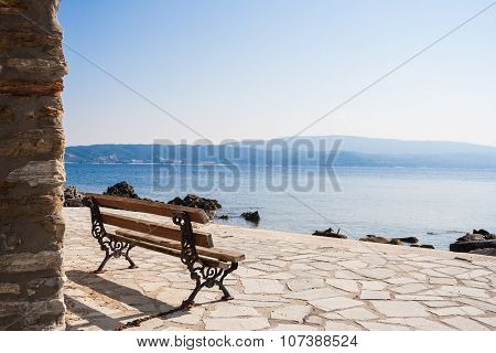 Bench in the Ammouliani Island, Chalkidiki, Northern Greece
