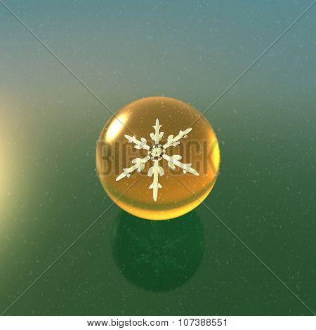 Christmas Snowflakes Crystal Ball Yellow