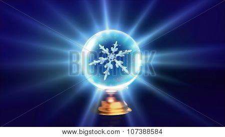 Crystal Ball Christmas Snowflakes Blue