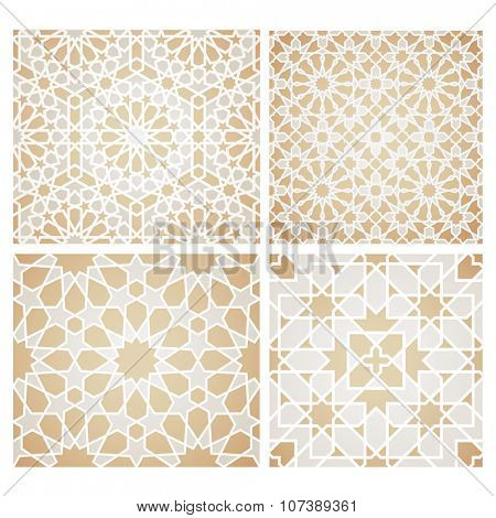 Set of seamless mosaic patterns in oriental style