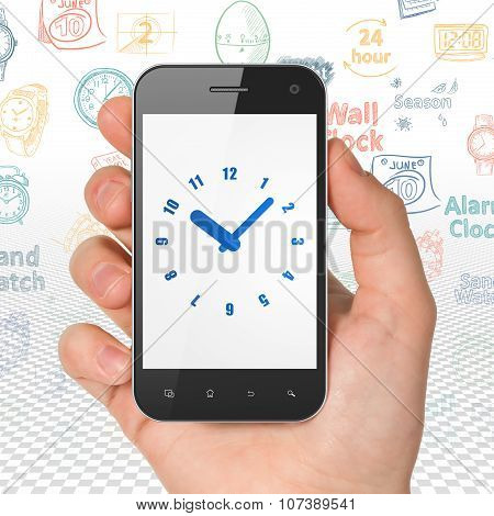 Time concept: Hand Holding Smartphone with Clock on display