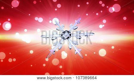 Bokeh Christmas Snowflake Red Background