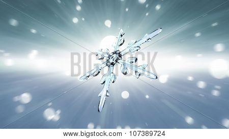 Bokeh Christmas Snowflake White Background