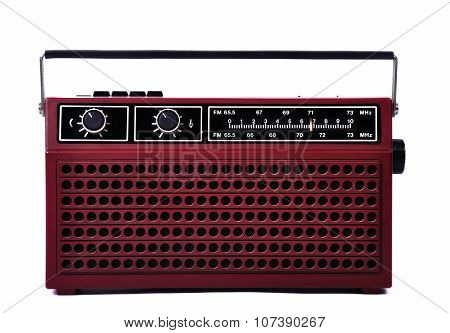1980S Retro Radio Isolated Over White Background