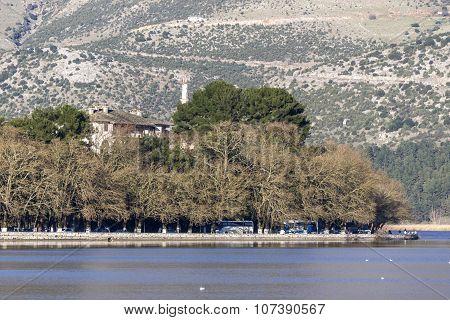 Ioannina town and Lake Ioannina and Pindus Mountains, Epirus, Greece