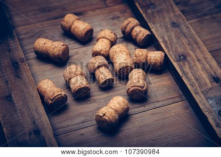 Champagne wine corks texture background.