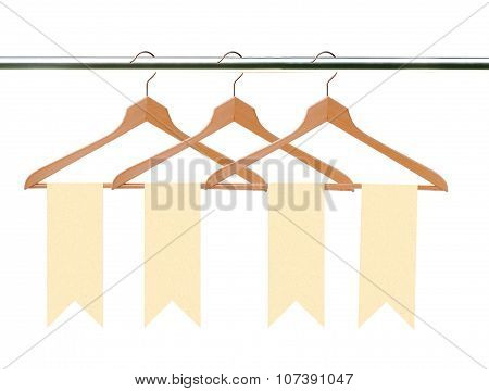 Wooden Clothes Hangers With Tags (labels) Isolated On White