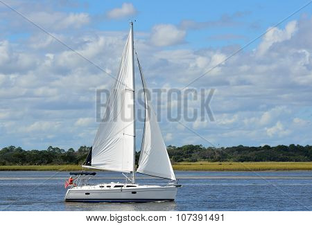 Sailboat on the river