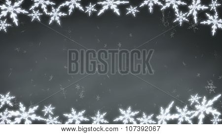 Board Of Snowflakes Background Grey
