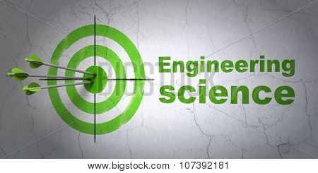 Science concept: target and Engineering Science on wall background