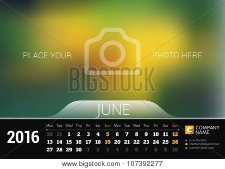 June 2016. Desk Calendar For 2016 Year. Vector Design Print Template With Place For Photo. Week Star