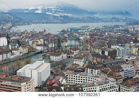 Aerial view to the historical part of the Lucerne city, Switzerland.