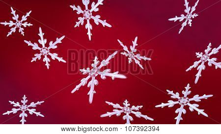 Snowflakes Christmas Background Red