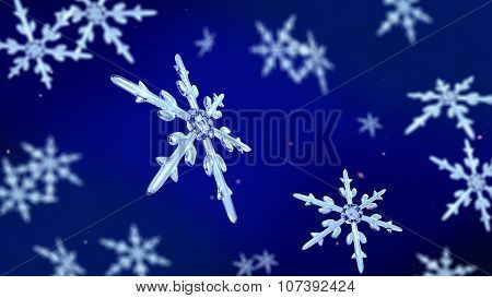 Snowflakes Focusing Background Blue