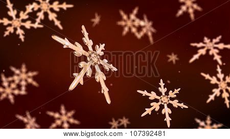 Snowflakes Focusing Background Rose Gold