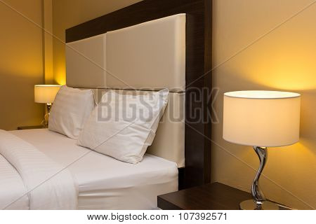 Bedroom With Bed And Lamp Decoration