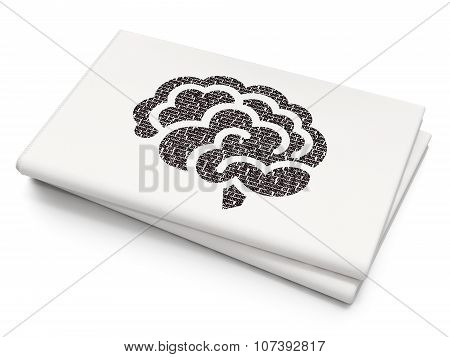 Science concept: Brain on Blank Newspaper background