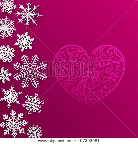 Christmas Background With Big Heart And Snowflakes
