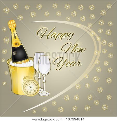 Happy New Year Midnight Drink And Snowflakes Vector