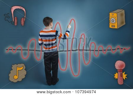 adolescent boy turned his back and wrote a marker of a sound wav