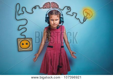 Teen girl in big headphones surprised furrowed face of the charg