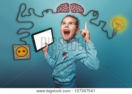 teen girl opened her mouth shouting holding a tablet joy of disc