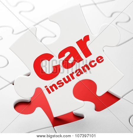 Insurance concept: Car Insurance on puzzle background