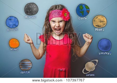 teen girl clenched her fists shouting angry planets of the solar